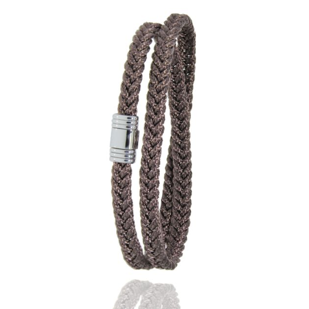 Bracelet Albanu double braided in marine cord, clasp in steel 608