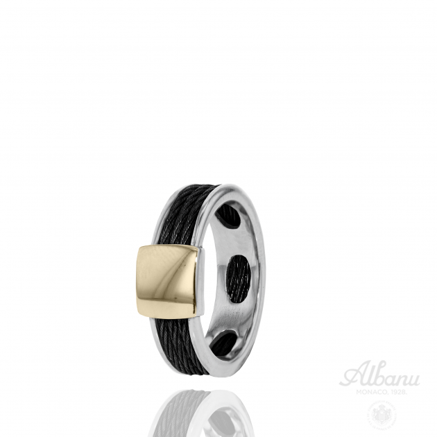 Gold Black Cable Ring
