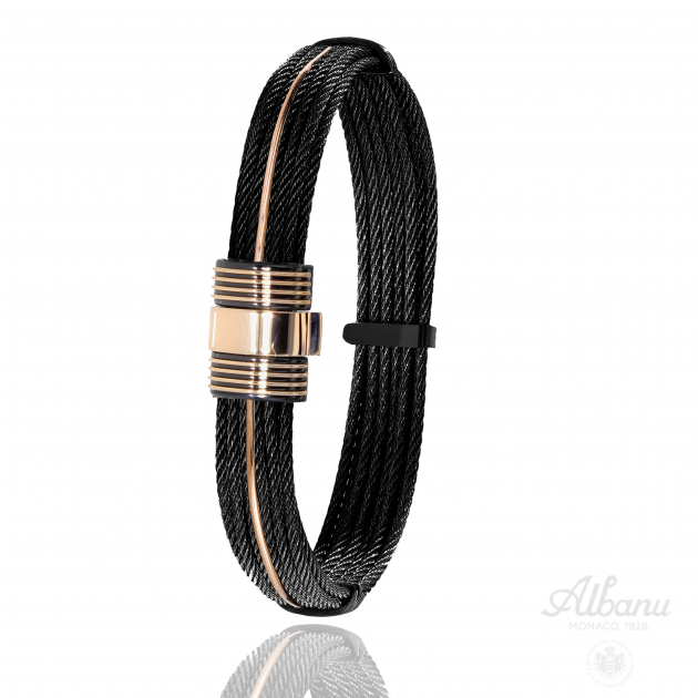 FERMOIR 601N OR 0.80GR BRACELET CABLE NOIR