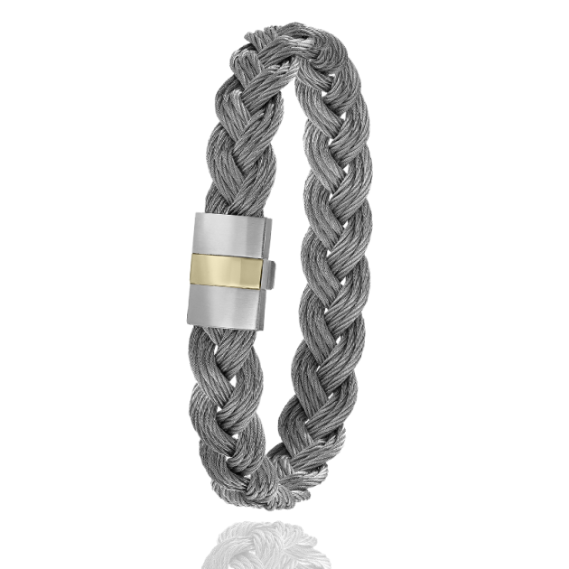 FERMOIR 604/P2 OR 0.30GRS TRESSE CABLE GRIS