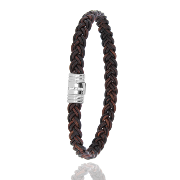 FERMOIR 608/1L ACIER + DIAMANDS 0.07CT CUIR MARRON