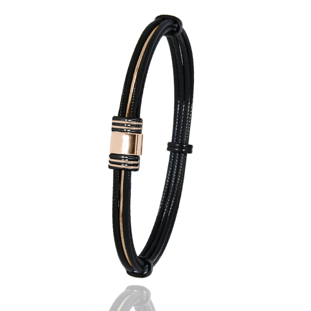 FERMOIR 613N OR + PVD CABLE NOIR FIL OR