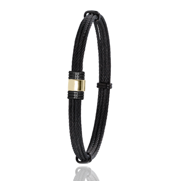 FERMOIR 614N OR 0.30GR + PVD NOIR BRACELET MULTI CABLE NOIR