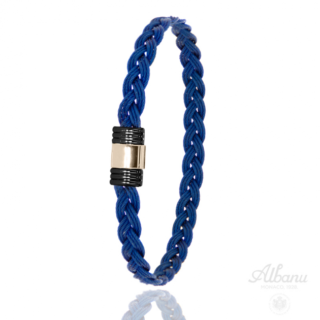 FERMOIR 614N OR 0.30GR + ACIER PVD BRACELET TRESSE CABLE