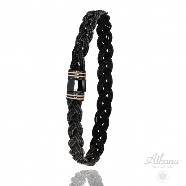 FERMOIR 615N OR 0.20GR + PVD NOIR BRACELET CABLE NOIR