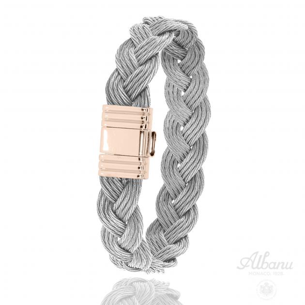 Bracelet Jibing Tressé Acier Rose