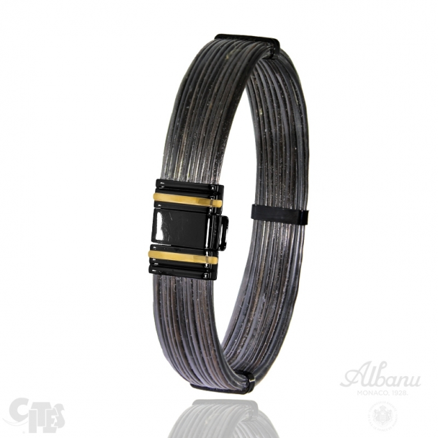 FERMOIR 698N OR 0.45G + PVD NOIR BRACELET ELEPHANT FILS DROITS