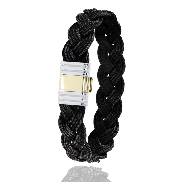 FERMOIR 699 OR 0.5G + ACIER BRACELET TRESSE CABLE