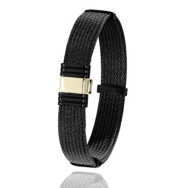 FERMOIR 699N OR 0.50GR + ACIER PVD BRACELET MULTI CABLE