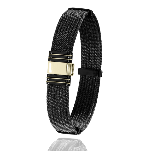 FERMOIR 701N OR 0.70GR + ACIER PVD BRACELET MULTI CABLE
