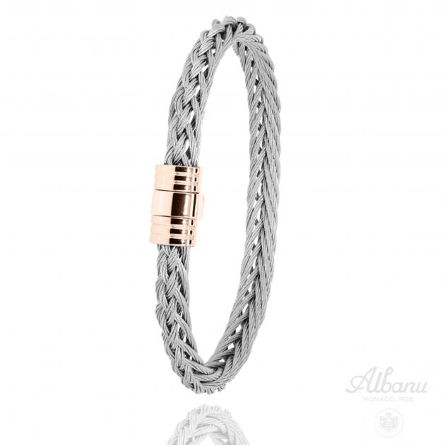 Pink Steel Braided Bow Bracelet