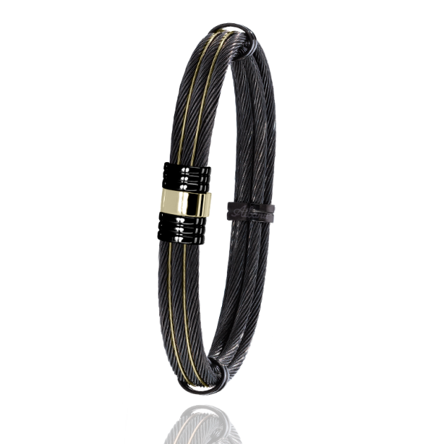 FERMOIR 703N OR 0.40GR + ACIER PVD BRACELET MULTI CABLE ROND