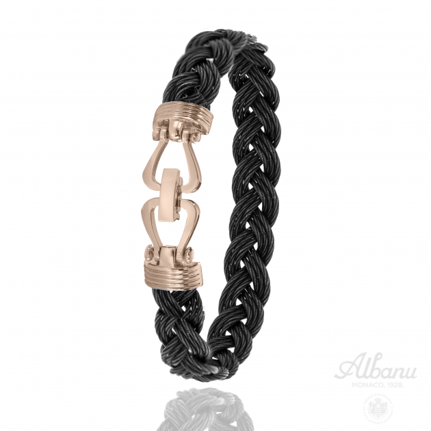 Black and Pink Braided Steel Swell Bracelet