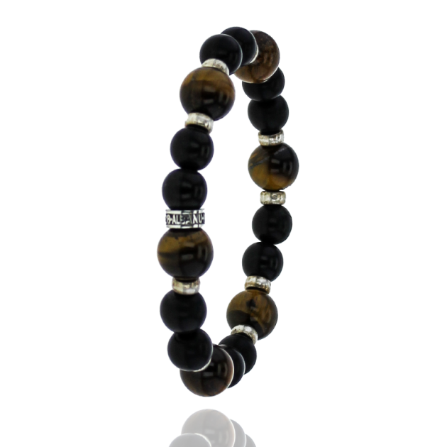 Albanu bracelet in eye of the tiger stone onyx BP108 + silver 0,9gr