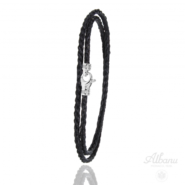 FERMOIR EMS OR 3.4GR + DIAMANTS 0.06 BRACELET CRIN DE CHEVAL